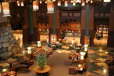 The lobby of Disney's Grand Californian hotel. A beautiful Arts and Crafts style hotel. AMAZING!