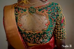 Bridal blouses - Blouses are the heart of your wedding attire, so here's a board completely dedicated to wedding s - Netted Blouse Designs, Wedding Saree Blouse Designs, Simple Blouse Designs, Stylish Blouse Design, Blouse Neck Designs, Wedding Blouses, Wedding Sarees, Traditional Blouse Designs, Blouse Designs Catalogue