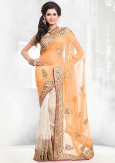 Exclusive Off White and Honey Yellow Saree