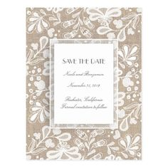 Burlap and Lace Elegant Save the Date