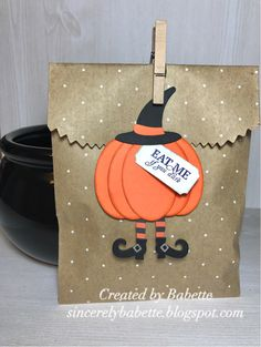 I'm lovin' these little witch legs from the Echo Park Co., Bewitched die set. The sentiment is from the Wickedly Sweet Treat, Paper Pumpkin ...