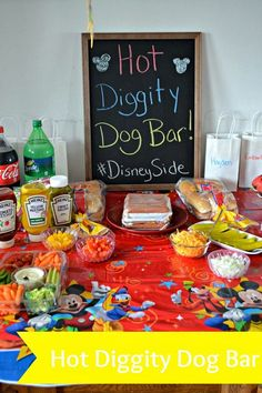 Hot Diggity Dog Bar PartyYou can find Mickey party and more on our website. Mickey Mouse Clubhouse Birthday Party, Mickey Mouse 1st Birthday, Mickey Mouse Parties, Mickey Minnie Mouse, 3rd Birthday Parties, Third Birthday, Boy Birthday Themes, 2yr Old Birthday, 2 Year Old Birthday Party Girl