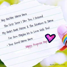 A new and romantic way to wish Propose Day to the loved one. Get Happy Propose Day wishes with name of your love. Love Proposal Images, Proposal Quotes, Happy Anniversary Quotes, Anniversary Funny, Propose Day Picture, Happy Propose Day Wishes, Write Name On Pics, Valentine Day Week List, Images For Facebook Profile