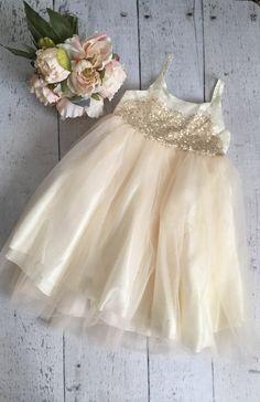 Sequin sparkle cream ivory-beige tutu-flower girl by MissBYOB