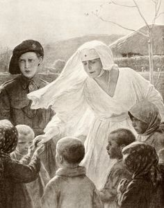 Queen Marie Of Romania In Red Cross Nurses Costume Distributes Food To Poor Village Children During First World War