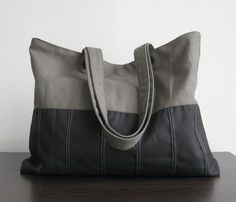 Bought and delivered! Black/Grey Canvas Tote  Pleated Bottom by tippythai on Etsy, $32.00