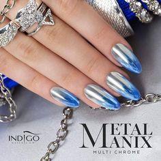 """2,032 Likes, 5 Comments - Indigo Nails (@indigonails) on Instagram: """"MetalManix Multi Chrome na biało niebieskim ombre!! ❤ #Nasze produkty możecie kupić klikając w…"""""""