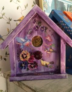 Handcrafted Faux Birdhouse  Purple W/ Floral by Bloomsbotanicals,