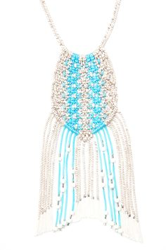 Macramé Fringe Necklace - Blue/Natural - Limited Edition designed and created by Kelli Ronci for CORDA
