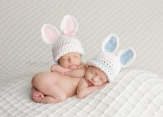 These sweet little bunny hats are just waiting to be worn by your precious baby! The girl bunny hat has baby pink inner ears and pink around