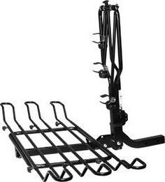 Platform style bicycle carrier able to hold up to 3 bicycles and fold up when not in use or swing down for rear vehicle access. Best Bike Rack, Summit Racing, Bicycle Rack, Trailer Hitch, Folded Up, Clothes Hanger, Car, Platforms, Automobile