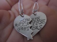 Zombie Apocalypse Partners  Set of Two Sterling Silver Necklaces. End of days jewelry. Best friends on Etsy, $48.00