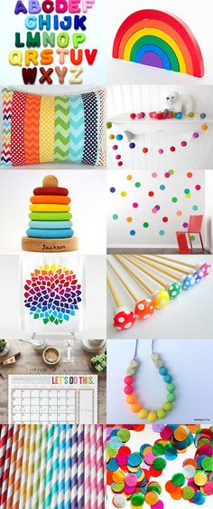 All the colours of the rainbow by Linnea Axelsson on Etsy - featuring a felt ball garland by theblushingfig.com and a rainbow nursery pillow by theredpistachio.com