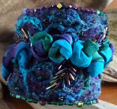 Beaded Cuff with silk chiffon and beadwork...gifted to ME! Beautifully handmade by SharonWhisperofSpirit.com  Thank you so very much Sharon!