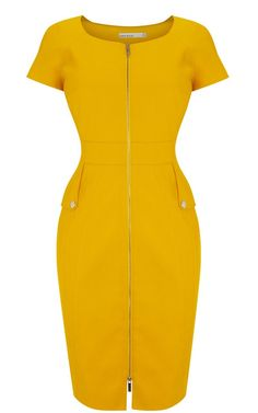 Morpheus Boutique - Yellow Zipper Celebrity Cap Sleeve Trendy Pencil Dress