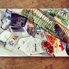 17th Creativity Challenge: Sketch your desktop - My chaotic desktop