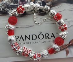 "Valentines ""Butterflies"" ~ Authentic Pandora Bracelet with European Lampwork Murano glass Beads and Charms 79"