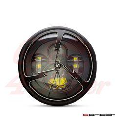 "7.7"" Matte Black LED Headlight +Tri-Bolt Grill Cover"