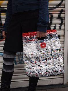 DIY Crochet shopping bag strips to make a tote.