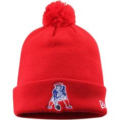 Men s New Era Red New England Patriots Legacy Pom Pom Cuffed Knit Hat Nfl New  England 45afe7c75