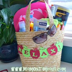 Teacher Gift Idea ~ Time To Relax... Things you might want to include in the tote: Sunglasses, beach towel, flip flops, magazine, lip gloss, chapstick, sunscreen, frisbee, gum, candies, sparkling cider.