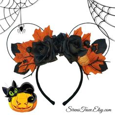 Halloween Inspired Minnie Mouse Floral Disney Ears #halloweenmouseears #diy #fall #halloweenears #handmade #halloweenfloralears #disney #disneyland #halloween #halloweeflowerears #mouseears #disneyheadband #custom #customhandmadeears #minniemouseears #mickeyears #mickeymouseears
