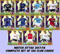 2258bce8b MATCH ATTAX 2017 18 - COMPLETE SET OF 100 CLUB CARDS  Amazon.co