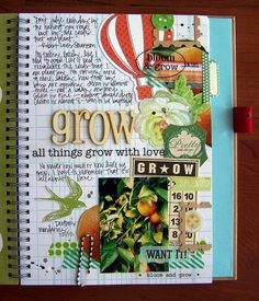 """Grow Smash Book Page by Tessa Buys, via Flickr"" Definitely going to do a page with writing and a border like that."