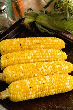 Grilled Garlic Butter Corn ~ Fresh, Juicy Sweet Corn Recipe Grilled in Garlic Butter! ~ http://www.julieseatsandtreats.com