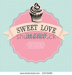 Bakery, Sweet  Love Cupcake card restaurant menu, vector template. Beautiful background with  place for your text. Menu for restaurant, cafe, bar, tea-house.