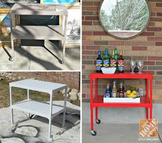 Colorful Patio Makeover: Upcycled Serving Cart
