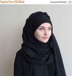 Stylish BlackTurban Hijab, ready to wear hijab, Pret A Porter Hijab, abaya hijab, burqa, Dubai hijab, modern hijab