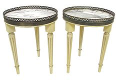 Neoclassical-Style Accent Tables. Marble/wood/brass in color is yellow/gray/white/gold. Cute for nightstands or end tables.