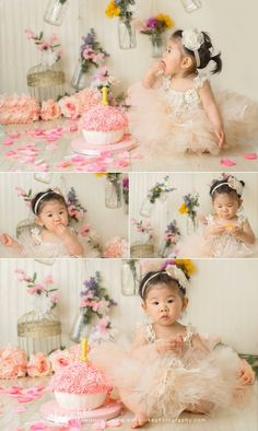 Children Photography | First Birthday | Cake Smash | Pink | Anna-Lisa Photography | Flowers | Floral Cake Smash