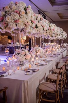 Wedding Head table designed by Edge Design Group featured in Inside Weddings Reception Table, Reception Decorations, Event Decor, Reception Ideas, Wedding Reception, Luxury Wedding Decor, Glamorous Wedding, Dream Wedding, Wedding Shit