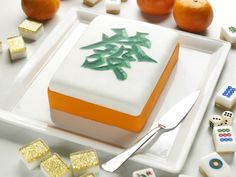 mah jong cake! This is Fa Csi, the green dragon. My favorite tile. Neat cake!