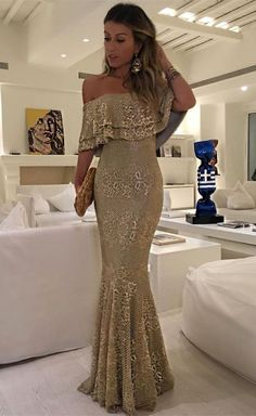Mermaid Off-the-Shoulder Floor-Length Champagne Lace Prom Dress Can Dresses Best Prom Dresses, Beautiful Prom Dresses, Mermaid Prom Dresses, Formal Dresses, Dresses Dresses, Special Occasion Dresses, Ball Gowns, Evening Dresses, Ideias Fashion
