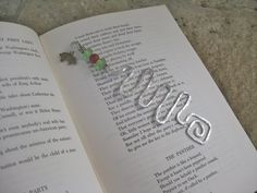 BookmarkWire red & green beads charm of by CrystalinasCreations, $8.95