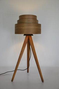 Atelier Noah floor lamp - You don't see many lampshades made of veneer, and I've always wondered why. So modern without being too sterile and could have a lovely lighting effect. Bright Colors, Colours, Tripod Lamp, Lampshades, Floor Lamp, Woodworking, Shapes, Retro, Lighting