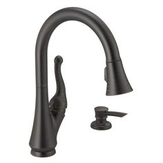 Buy the Delta Venetian Bronze Direct. Shop for the Delta Venetian Bronze Talbott Pull-Down Kitchen Faucet with Magnetic Docking Spray Head, Soap/Lotion Dispenser, and Optional Base Plate - Includes Lifetime Warranty and save. Kitchen Pulls, Kitchen Sink Faucets, Kitchen Handles, Bathroom Faucets, Zen Bathroom, Martha Stewart, Delta Faucets, Faucet Handles, Bathroom Styling