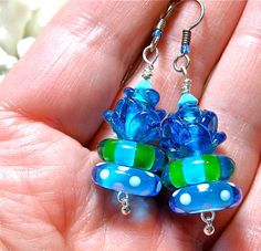 Blue Rose Lampwork Disc and Flower Earrings by MeadowbrookDesigns, $18.00