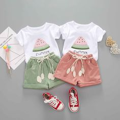 Girls Summer Outfits, Toddler Girl Outfits, Short Outfits, Summer Girls, Boy Outfits, Toddler Girls, Watermelon Outfit, Baby Suit, T Shirt And Shorts
