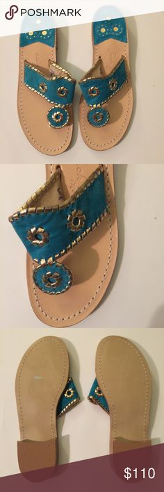 NWT CUSTOM TEAL / GOLD JACK ROGERS - Size 7.5 NWT CUSTOM TEAL / GOLD JACK ROGERS - Size 7. NWT $100. CURRENT RETAIL $118. These casual flat sandals feature a beautiful leather upper on a stacked leather heel. A fun look for summer!These are is handmade and each one has the size handwritten in the upper. Half sizes are noted with the numerical size plus a dash. Brand new but no box. $75 ON MERC.  1-in. L Slip-on Leather Imported Jack Rogers Shoes Sandals