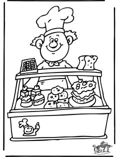 Selling Various Cake At Bakery Coloring Pages Coloring For Kids, Printable Coloring, Coloring Pages For Kids, Coloring Sheets, Adult Coloring, Coloring Books, Shop Plans, Digital Stamps, Print Pictures