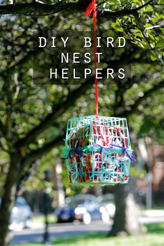 How to make bird nest helpers to use up scrap yarn!  I love this easy bird nest helper! too cute