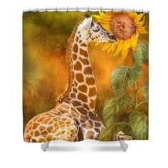 Shower Curtains - Growing Tall - Giraffe Shower Curtain by Carol Cavalaris