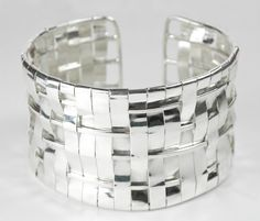 Sterling silver and fine silver woven cuff bracelet by Woven Art Jewellery