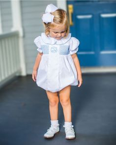 White Anna Dress with Blue Smocking Preppy Baby Girl, Preppy Kids, Baby Girl Fashion, Kids Fashion, Cute Little Girls Outfits, Boys And Girls Clothes, Kids Outfits, Baby Outfits, Smocked Baby Clothes