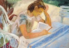 Reading woman by István Szőnyi Nude Portrait, Original Artwork, Auction, Horses, Woman, Reading, Artist, Paintings, Artists