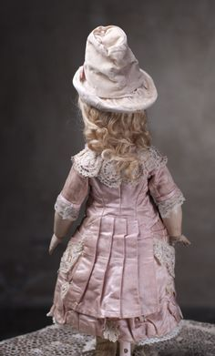 Very Rare French Bisque Bebe Modele by Leon Casimir Bru with Wooden-Articulated Body, 17 (42 cm.) Antique dolls at Respectfulbear.com